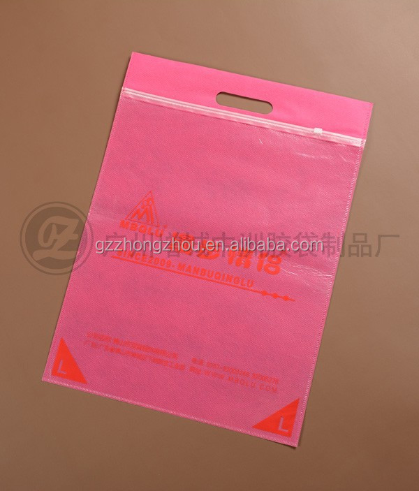Guangzhou factory hot sale zipper/zip-lock /zip lock plastic handle bag with factory price