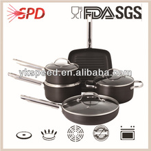 High quality Nonstick pressed Aluminum 8Pcs Cookware Set