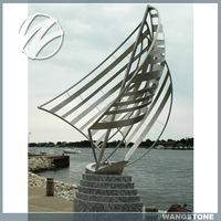 Decorative Art Sculpture Stainless Steel Sailing Boat Sculpture