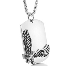 The eagle in titanium pendant retro Gothic Punk male stainless steel long Tag Necklace accessories
