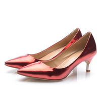 Comfortable lady shoes red women low heel pumps shoes classy sexy dress shoes women