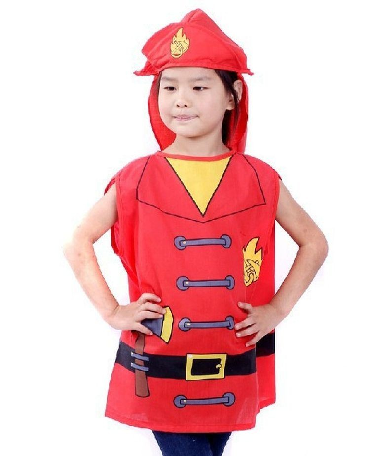 7000955-Cute Children Profession Costumes Unisex Firefighters Kids Fireman Clothing Costume For Halloween