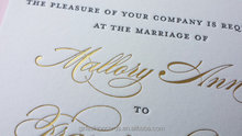 Script Gold Foil Printing Wedding Invitations