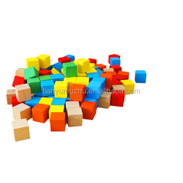 Factory supply multicolor wooden square cube for kids promotion