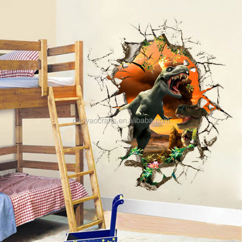 Animal world dinosau3D stereoscopic wall sticker Living room wall decor kindergarten Toy nursery school gremovable wall stickers