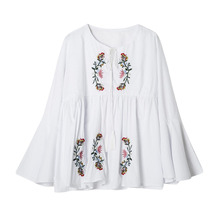 New Sexy Women Floral Embroidery Blouse Shirt Ruffle Flare Sleeve Casual Loose Top Blue/White
