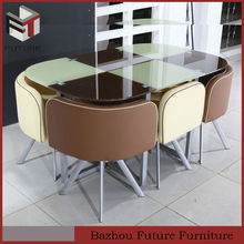 glass and metal corner dining table and chair sets
