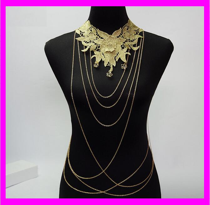 KDA3702 sex slave body chain fashion 18K gold plated long body chain jewelry