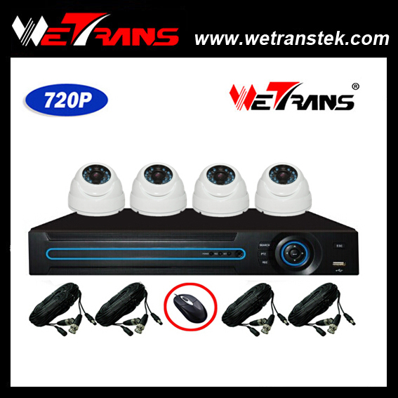 WETRANS AHD KIT-3404-B 4CH 1280*720P Dom IR Night Vision camera and DVR Security Kit Access Control System