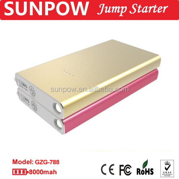 SUNPOW jump starter 8,000mAh 12V car battery charger jump starter super power bank mini booster pack