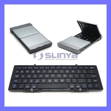 Universial Mini Portable Folding Auminum Wireless Foldable Bluetooth Keyboard for IOS Andriod Windows PC Tablets