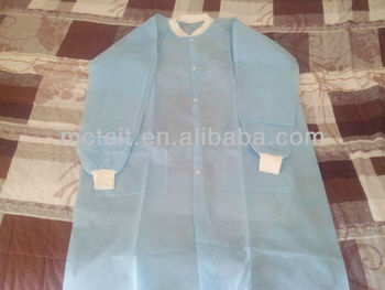 Disposable Nonwoven PP Lab Coat with knitted cuff