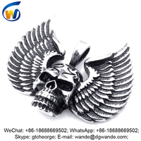 metal alloy antique custom winged skull logo, mexican skull pendant charms, metal skull emblems