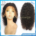 free shipping kinky curly lace front wig brazilian human hair wig for black women with baby hair