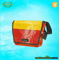 reusable tarpaulin messenger bag/college shoulder bag/designer college bags