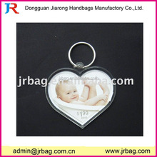 Custom heart shaped acrylic clear photo frame key chains for lovers