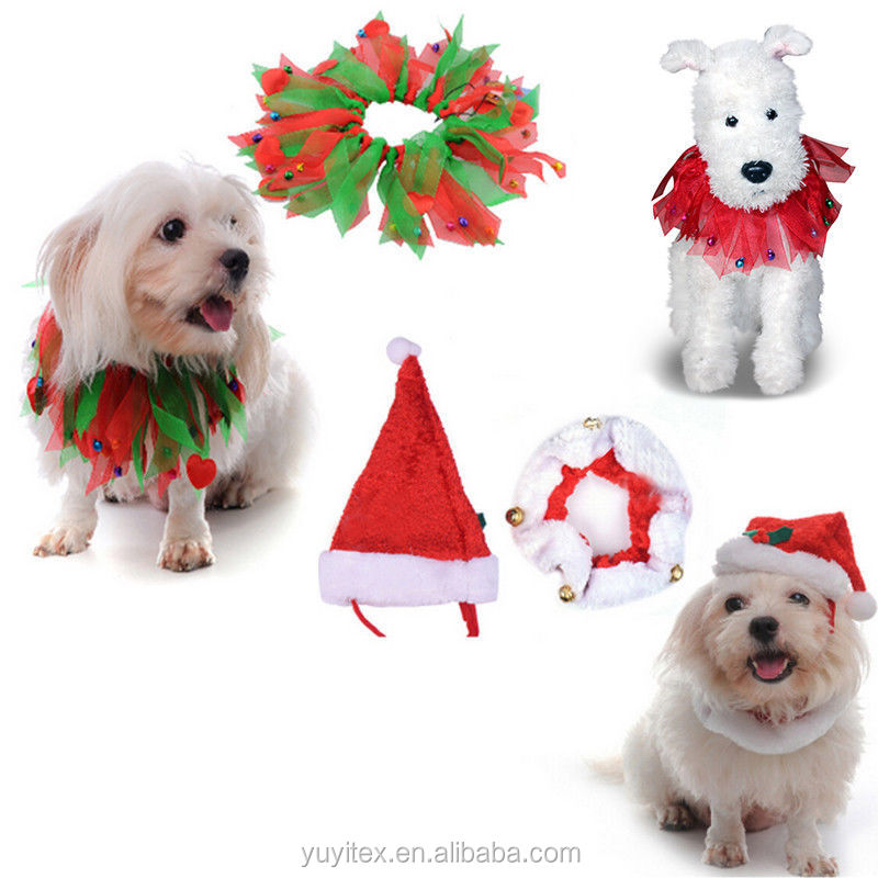 Christmas Style Pet Colorful Ribbon Decorative Collar Pet Clothes Dog Puppy Cat Fancy Dress with Bells