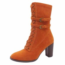 Custom Design Tailor Made Lace Up High Thick Heel Orange Women Ankle Rubber Boots