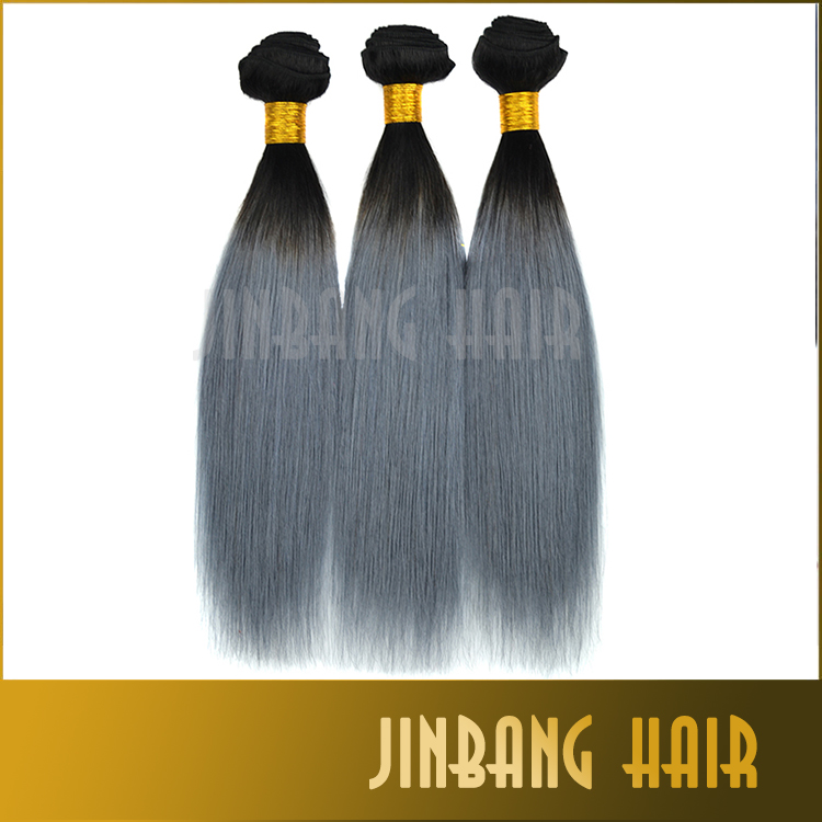 7A Silver Gray Hair Extensions New Fashion Virgin Brazilian Straight Hair Black and Grey Ombre Human Hair