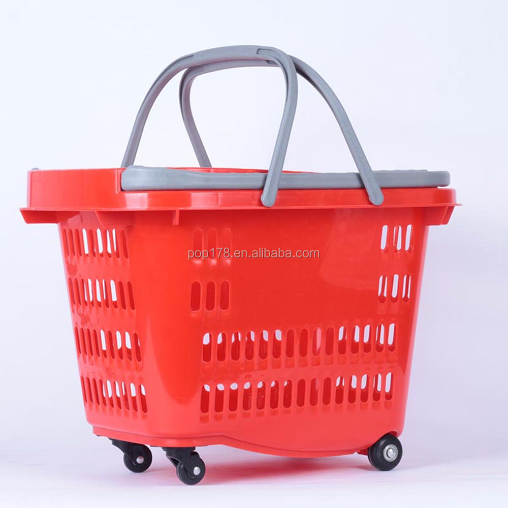 40L supermarket plastic rolling shopping basket trolley basket with four wheels
