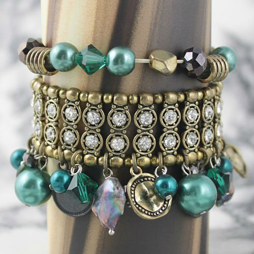 MJB00011 alloy dangle Green Beads Handmade Women Luxury Strentchy Bracelet