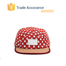 Red 5 Panel Hat ,Leather Strap 5 Panel Hats,Dot 5 Panel Hat