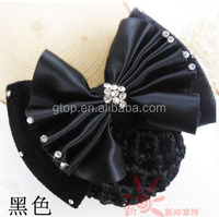 rhinestone bowknot hair clip with crochet snood bun cover hair net
