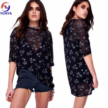 OEM wholesale women casual fashion 100% polyester star printed mesh oversized longline t-shirt