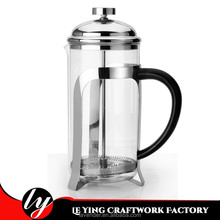 Attractive&Practicality French Press Coffee/Tea Maker Stainless Steel Borosilicate Glass PP Handle Raised Cover