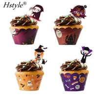 Halloween Cupcake Toppers Wrappers Vampire Witch Skeleton and Black Cat Cake Topper for Party Decorations Supplies PQ514