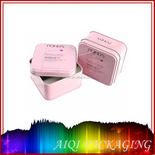 Luxury printed cosmetics metal rectangle tin box/can with hinge