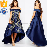 Wholesale women embroidered design off shoulder neckline fitted waist hem midi dress