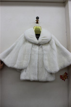 Batwing Sleeve White Color Mink Fur Coat