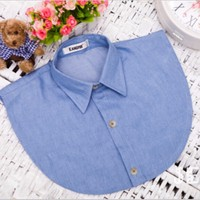 Fashion navy Cotton Detachable Fake Collar Peter Pan Removable Shirt Tops