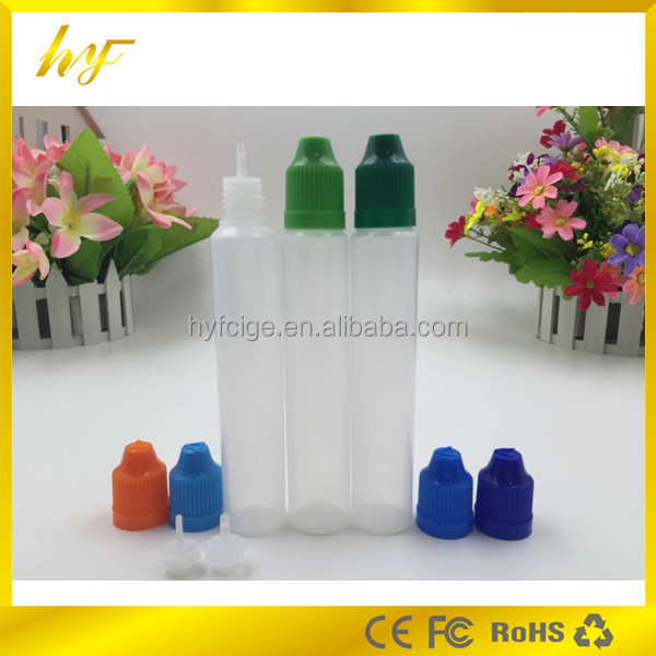 child proof sealing e liquid bottle plastic 30ml unicorn bottle with child safety lid and long thin dropper