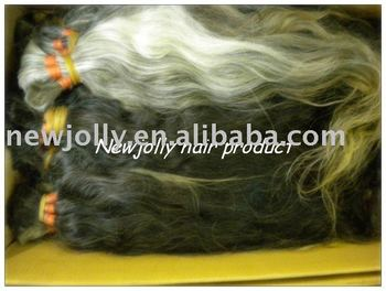 White human hair by bulk, 100% natural color undyed