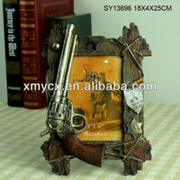 Polyresin photo frame with cowboy style
