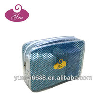 Hot sale!!! promotional promotional zipper top mesh with PVC cosmetic bag