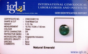 5.15 Cts Oval Mixed Cut Natural Emerald-Panna Gemstone