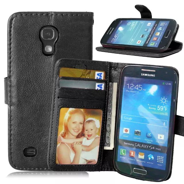For Samsung Galaxy S4 Mini Magnetic Flip PU Leather Wallet Case with Photo Frame Card Holder Stand fundas Mobile Phone Cover
