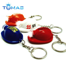 wholesale promotional gift plastic mini helmet LED flashlight keychains