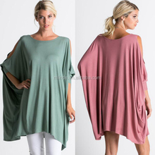 LATEST NEW FASHION DESIGN BLOUSE BIG SIZE XXXL LOOSE FIT TUNICS SPRING RAYON SUPER SOFT KNIT COLD SHOULDER BOXY TOP