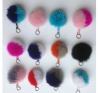 Candy Rainbow Color 10CM Faux Fur Soft Pom pom Ball Keychain Women's Bag Charm