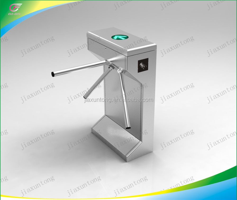 Semi-automatic 3-arm turnstile obstacle waist height tripod turnstile access control system
