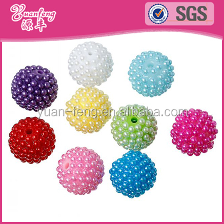 2015 new Chunky Ball Bayberry Beads Round Mixed Faux Loose Platic Pearl