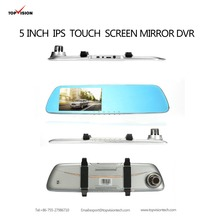5 Polegada IPS touch screen monitor Espelho Retrovisor de Lente Dupla Do Carro DVR