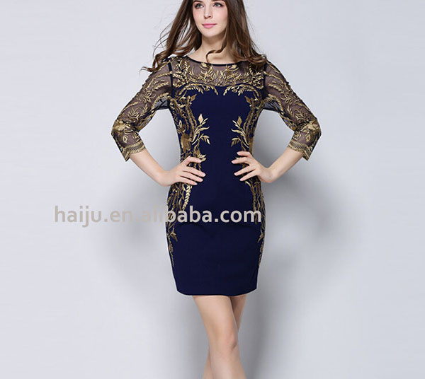 Sexy Pleated Women Summer Cheap Cloth Gold Embroidery Dress