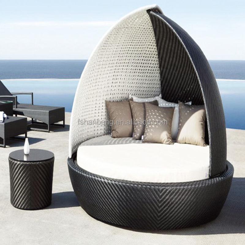 outdoor patio wicker rattan sunbed daybed furniture lounger sofa with canopy and pillows buy. Black Bedroom Furniture Sets. Home Design Ideas