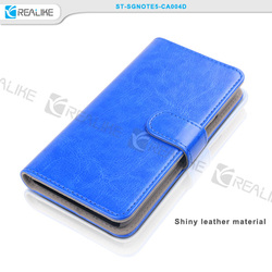 Free sample book style leather wallet custom case for galaxy note 5