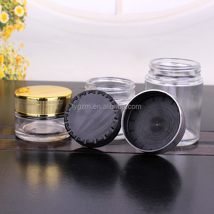 Hot Sale 15ml 40ml 80ml 90ml 110ml round clear child proof glass jar with colored cap